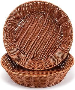 WUWEOT 2 Pack Bread Basket for Serving Set, 12 Inch Round Imitation Rattan Fruit Basket, Woven Stackable Tabletop Food Vegetables Serving Basket, Brown