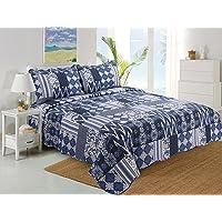 Stumix LuxuryReversible Quilt Set 3PC Set,Super Soft Bed Quilt Bedspread Bed Cover