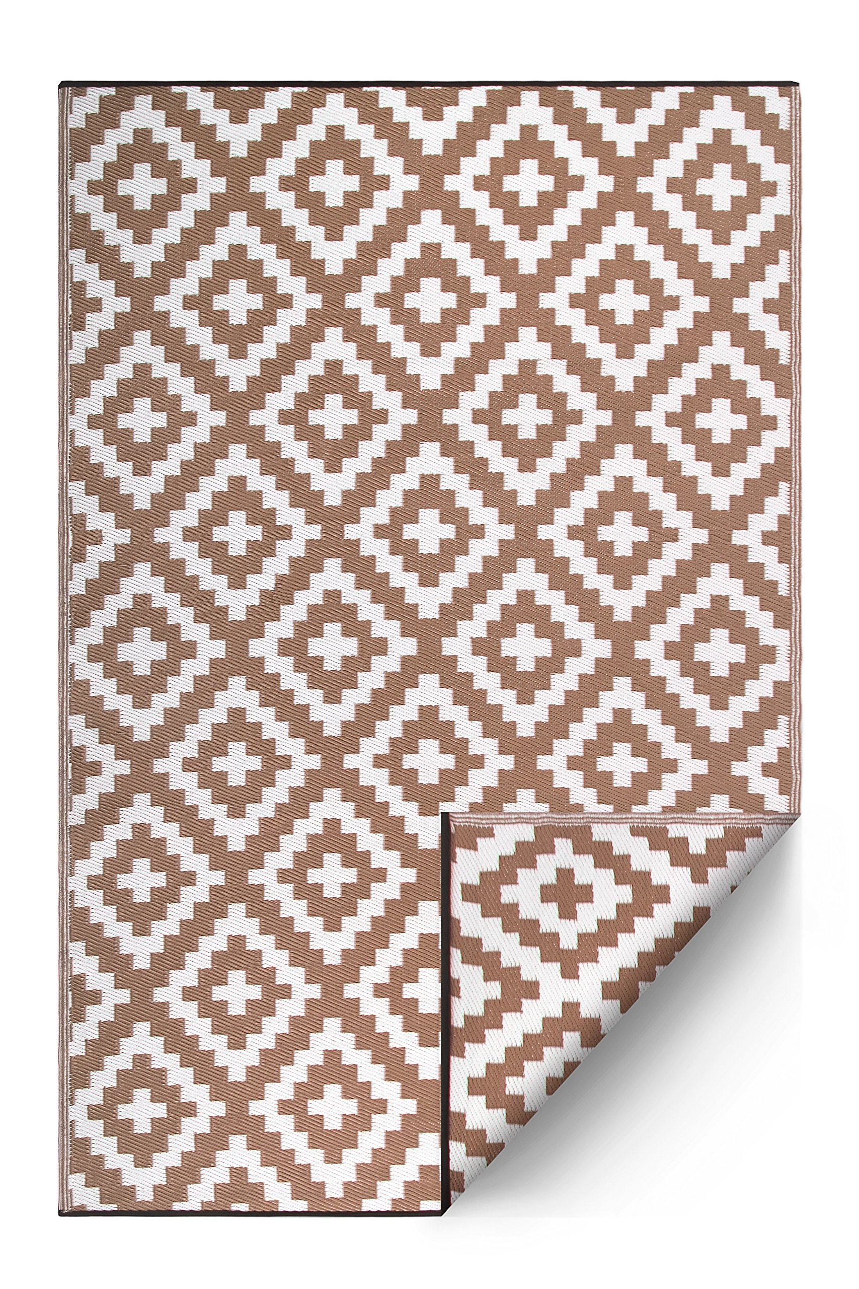 FH Home Indoor/Outdoor Recycled Plastic Floor Mat/Rug - Reversible - Weather & UV Resistant - Aztec - Taupe/White (4 ft x 6 ft)