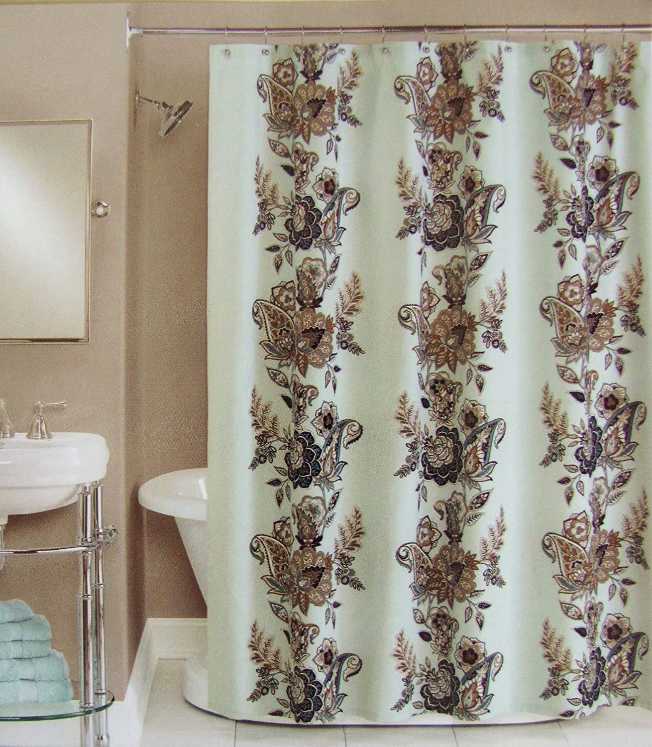 brown and grey shower curtain. Amazon com  Peri Shower Curtain Fabric Calliope Blue Brown Grey Tan White 72 X Home Kitchen