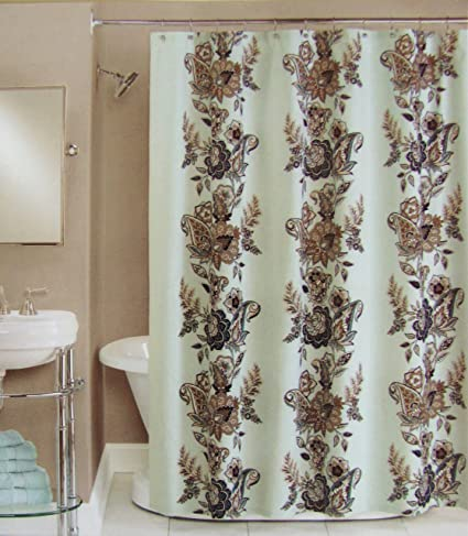 blue and brown shower curtain fabric. Peri Shower Curtain Fabric Calliope Blue Brown Grey Tan White 72 quot  Amazon com