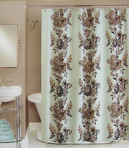 Peri Shower Curtain Fabric Calliope Blue Brown Grey Tan White 72quot