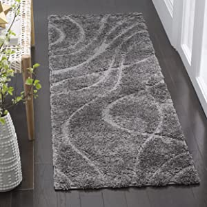 """Safavieh Florida Shag Collection SG471-8080 Abstract Wave Textured 1.18-inch Thick Runner, 2' 3"""" x 7', Grey/Grey"""