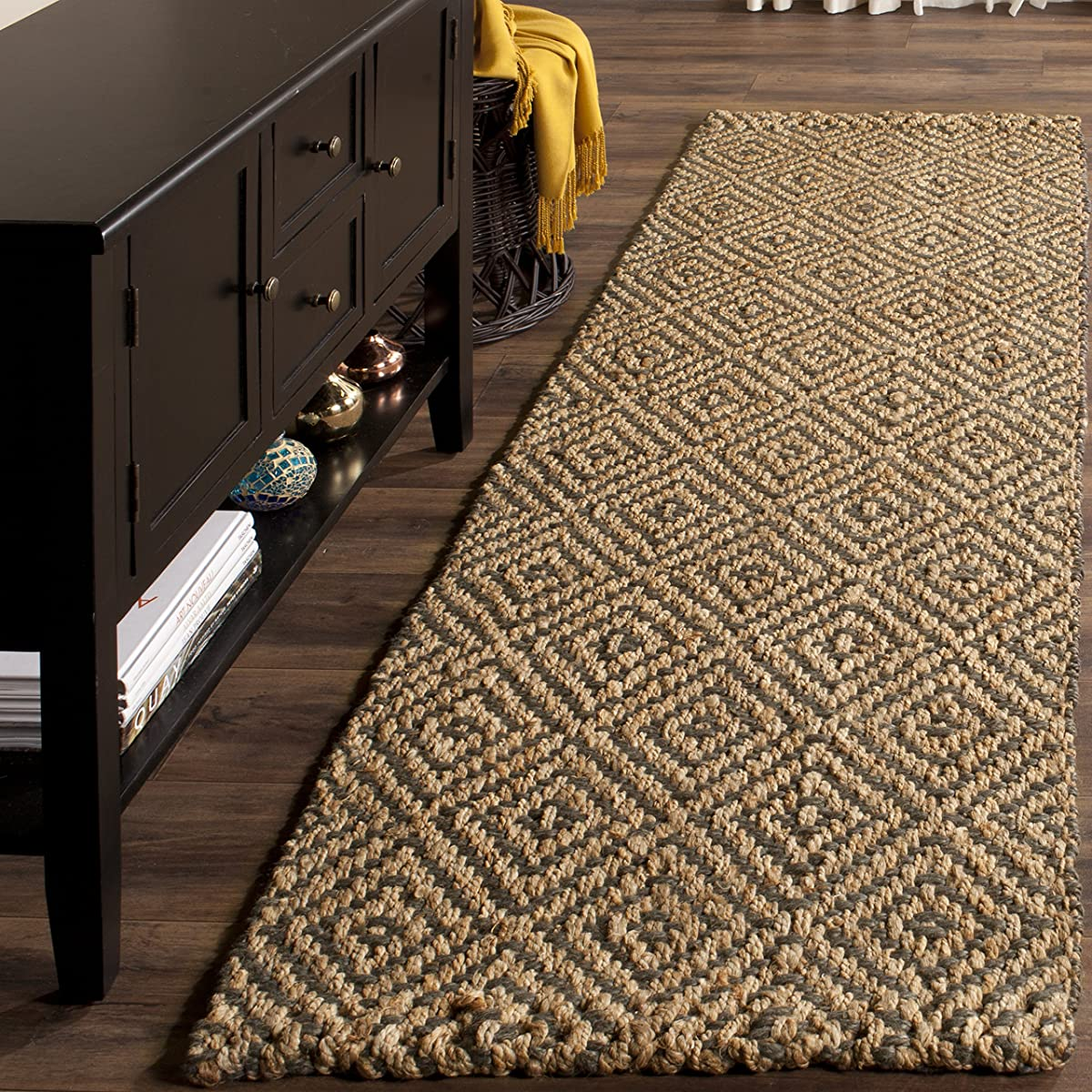"Safavieh Natural Fiber Collection NF181D Hand Woven Natural and Grey Jute Runner (23"" x 8)"