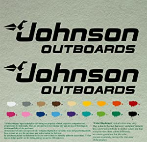 """Pair 12"""" Johnson outboards Decals Vinyl StickersBlack Vinyl Stickers Boat Outboard Motor Lot of 2"""