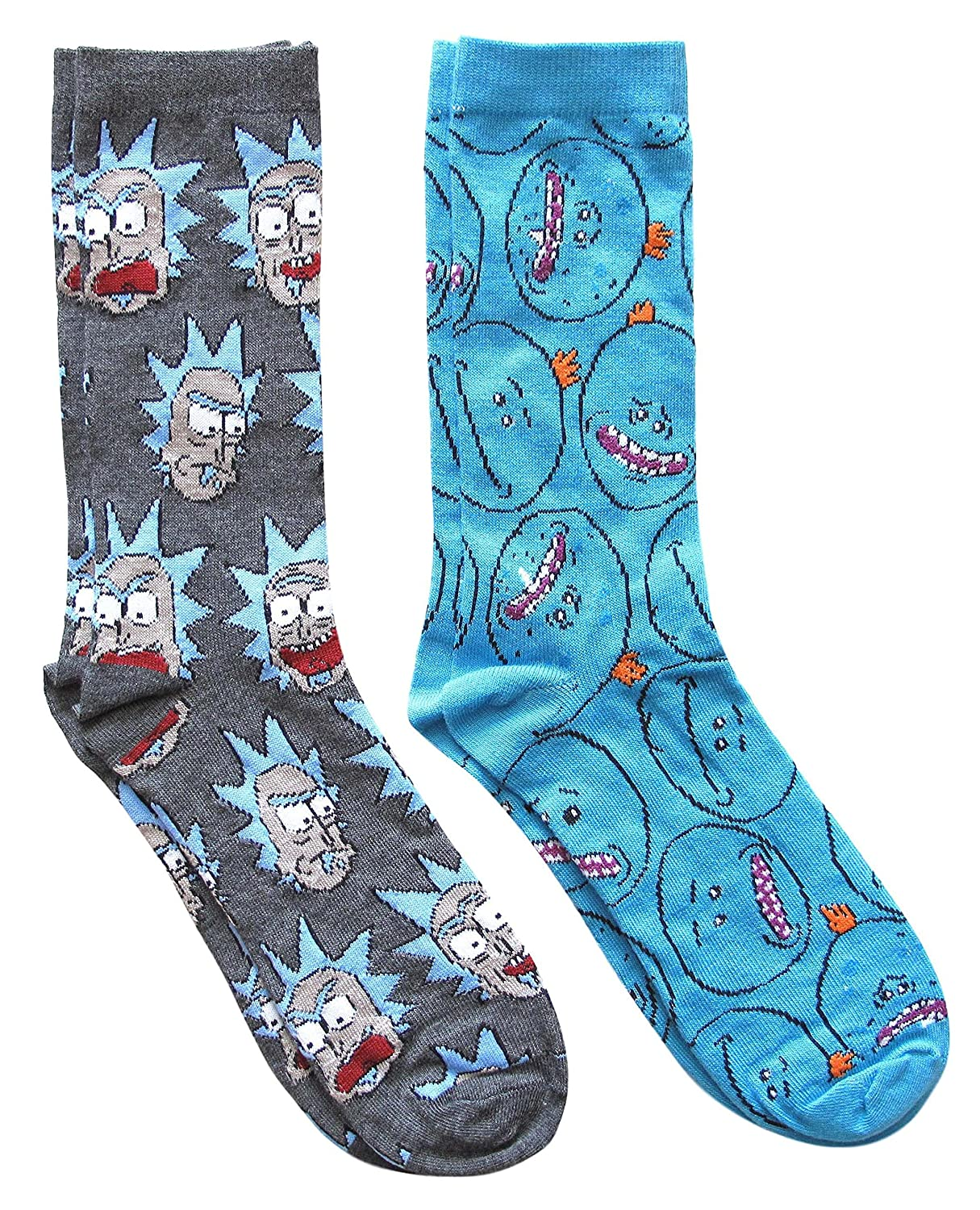 Rick and Morty Mr. Meeseek's Pattern Men's Crew Socks 2 Pair Pack Shoe Size 6-12 SW302