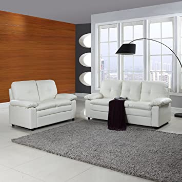 Classic And Traditional Faux Leather Living Room Furniture Set (White)
