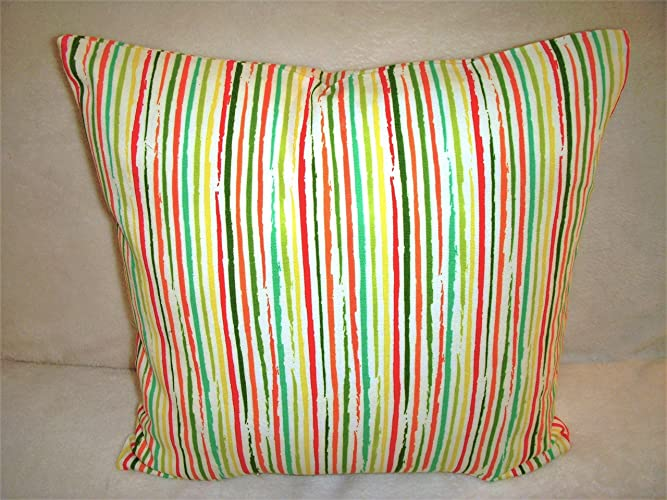 Excellent Amazon Com Stripe Pillow Cover Red Green Lime Turquoise Creativecarmelina Interior Chair Design Creativecarmelinacom