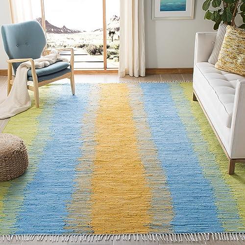 Safavieh Montauk Collection MTK710B Handmade Stripe Fringe Cotton Area Rug