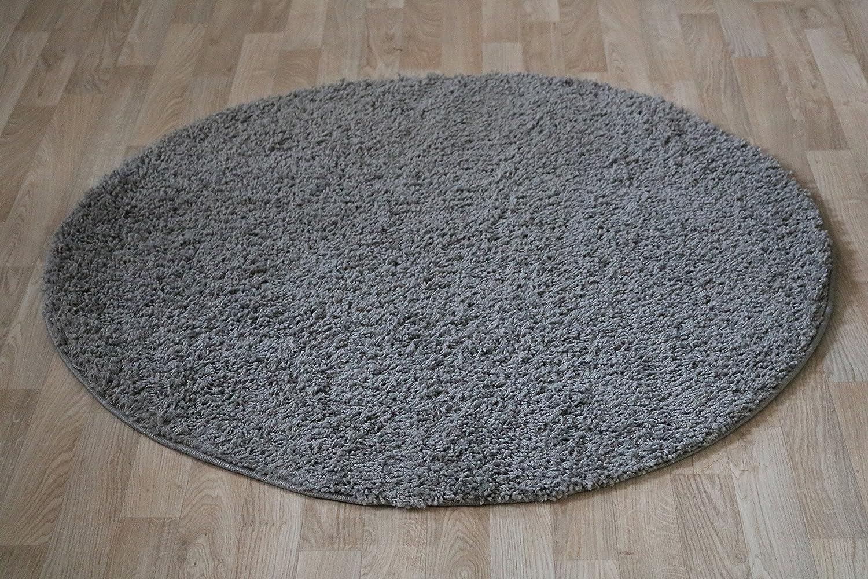 Runder Shaggy Hochflor Langflor Teppich für das Wohnzimmer, Schlafzimmer, Esszimmer und das Kinderzimmer geeignet natürlich Öko Tex 100 (250 cm rund, grau)