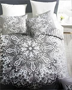 Artisan NY Bedding 3 Piece King Duvet Cover Set Geometric Paisley Medallion Pattern in Shades of Gray Pink White