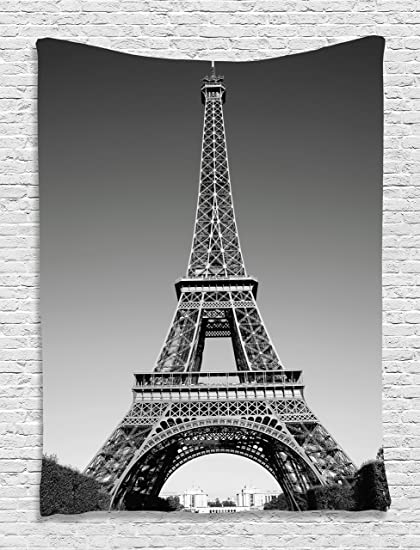 Ambesonne Eiffel Tower Tapestry Wall Decor By, Paris Landmark And  Monochrome Picture Of Cityscape Design
