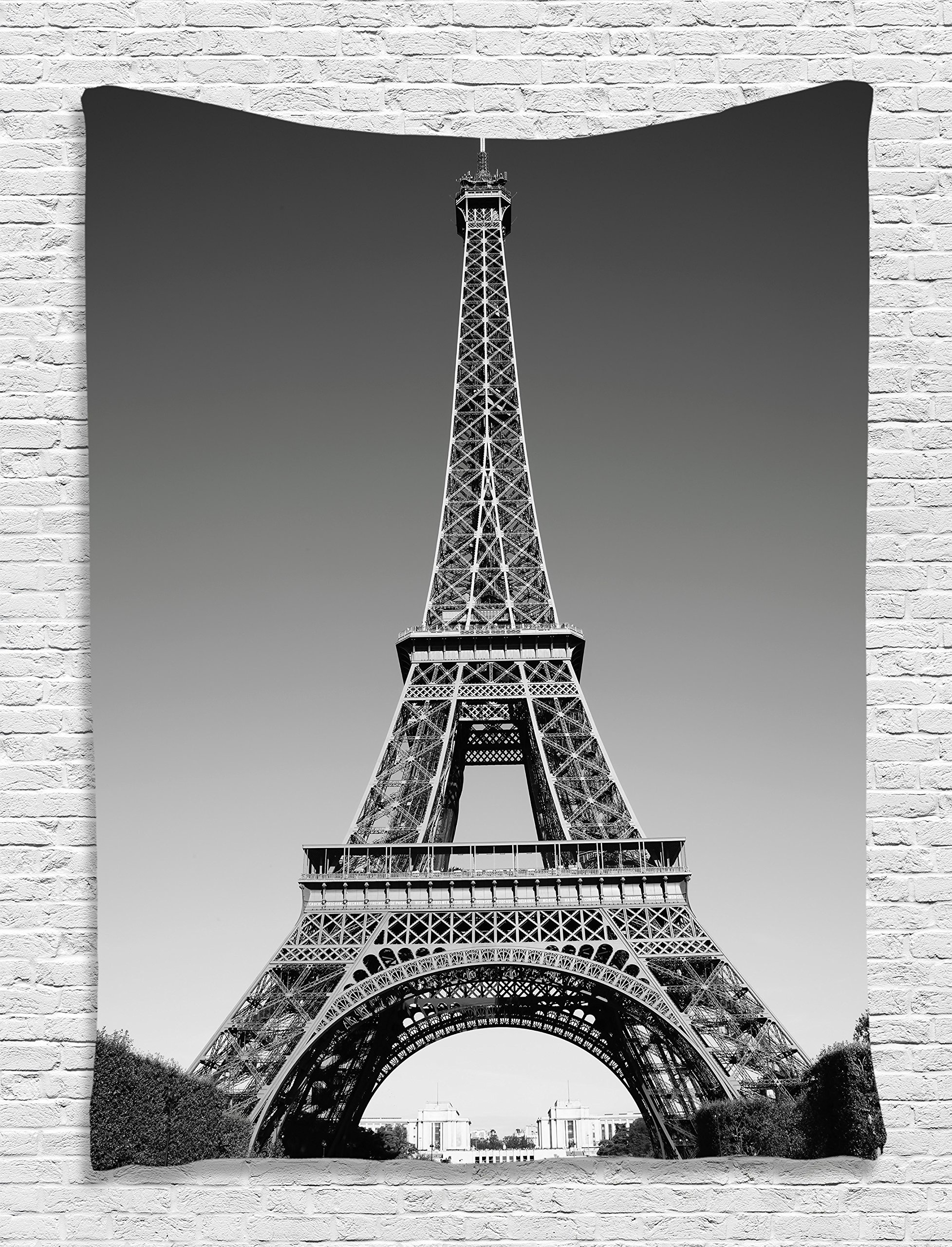 Ambesonne Eiffel Tower Tapestry Wall Decor, Paris Landmark and Monochrome Picture of Cityscape Design, Bedroom Living Girl Room Dorm Accessories Wall Hanging Tapestry, Black and White Grey
