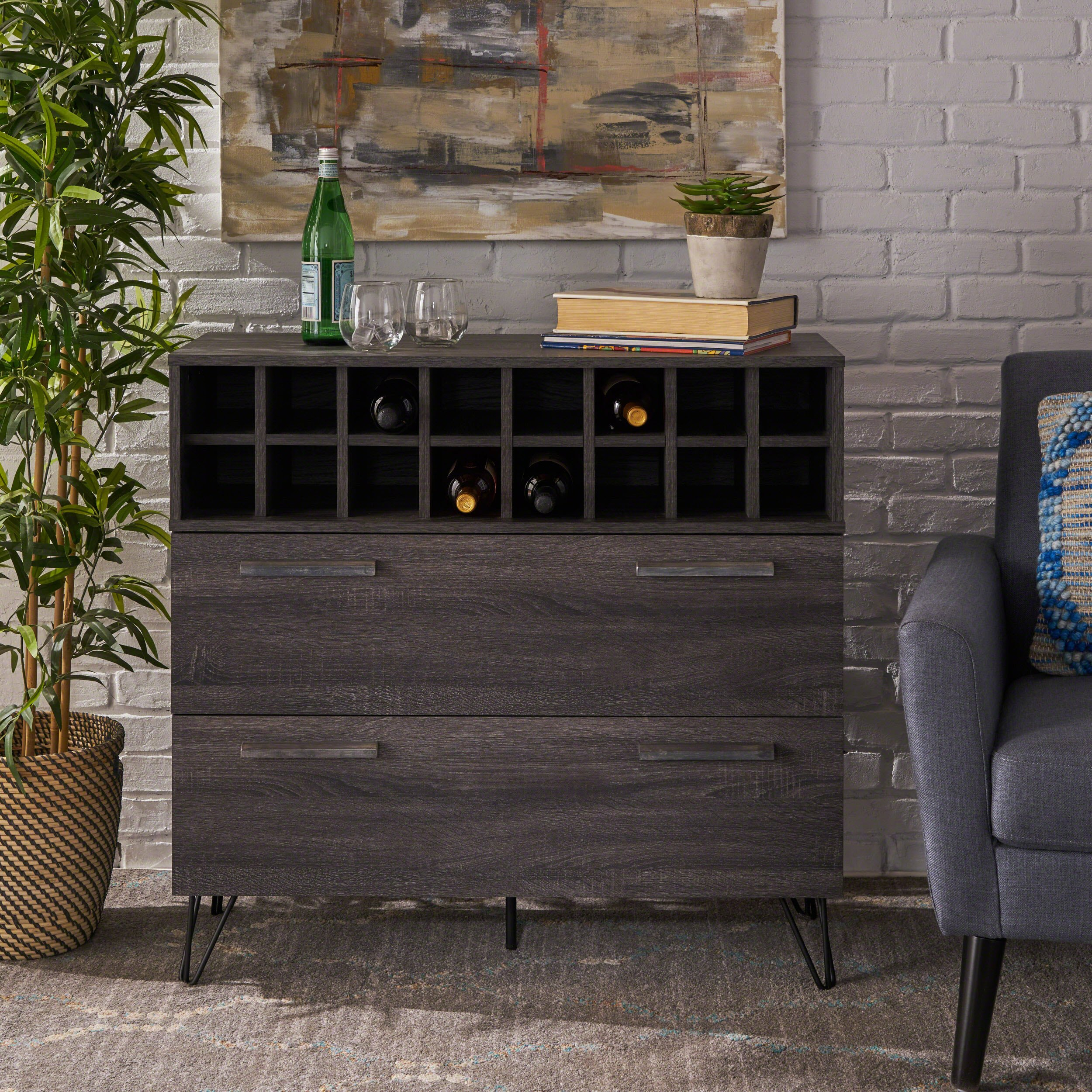 Annabelle Mid Century Sonoma Grey Oak Finished Faux Wood Wine and Bar Cabinet by Christopher Knight Home