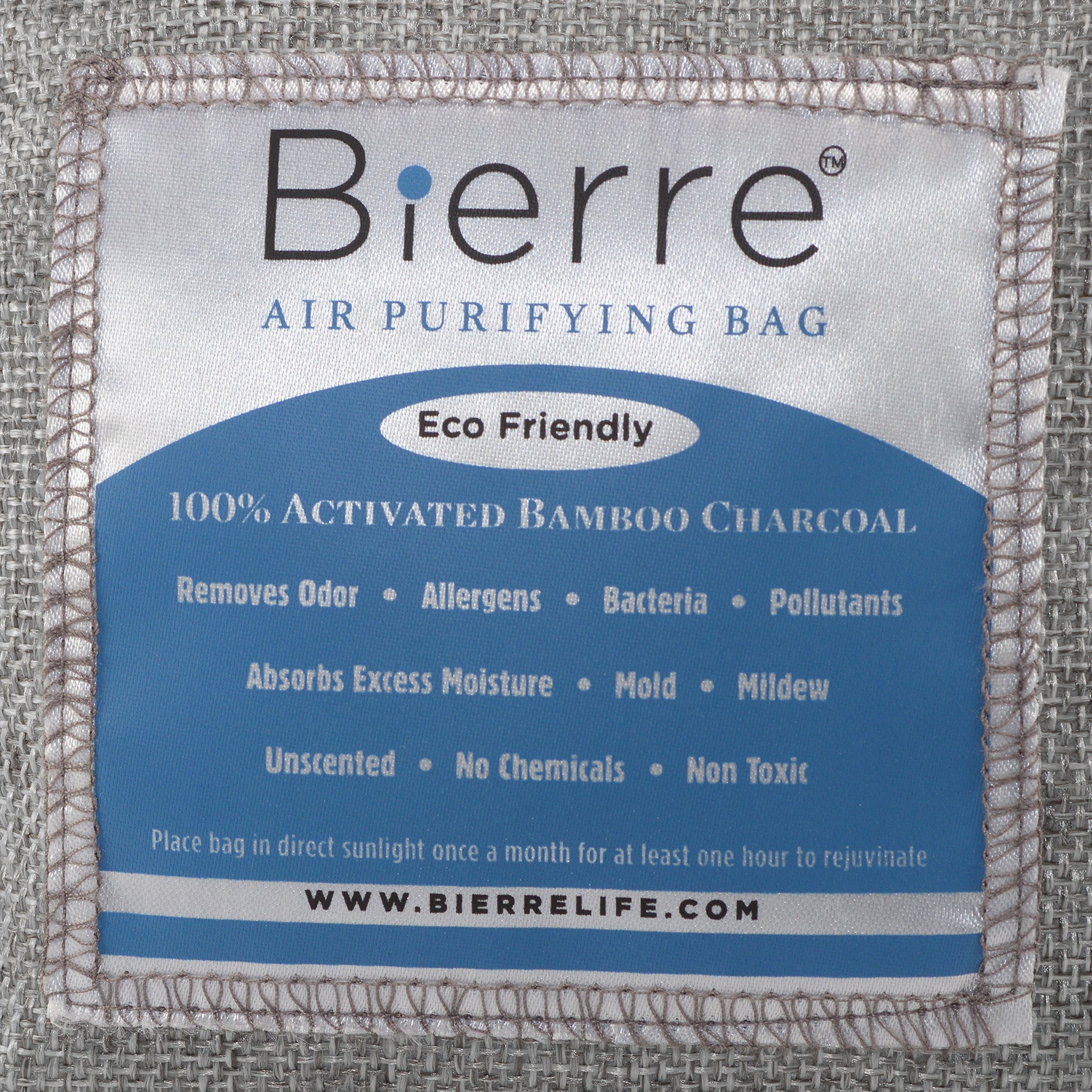 Bierre 4 Pack, 100% Bamboo Activated Charcoal Air Purifying Bags - Eco Friendly Natural Odor Remover - Unscented, Non Chemical - Removes Bacteria, Allergens, Pollutants, Absorbs Moisture, Mold, Mildew by Bierre (Image #4)