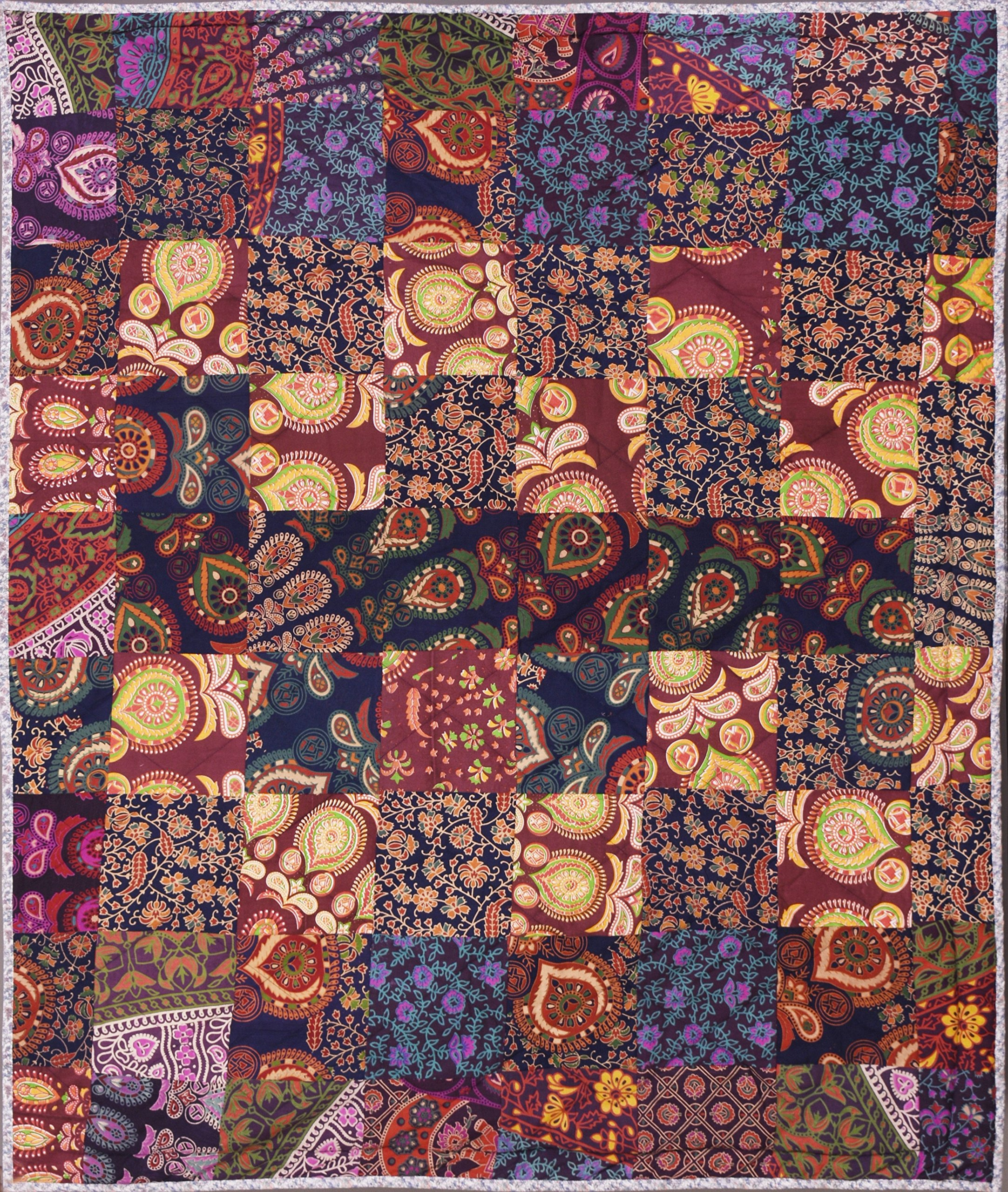 CRAFT N CRAFT INDIA Tapestries Comforter Cotton Quilt Blanket Bohemian Bedding Size 50 x 60 inches
