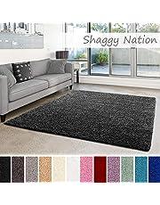 Shaggy-Teppich   Flauschiger Hochflor für Wohnzimmer, Schlafzimmer, Kinderzimmer oder Flur Läufer   einfarbig, schadstoffgeprüft, allergikergeeignet