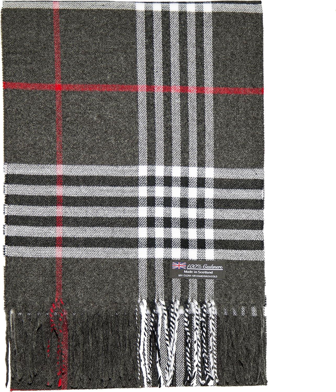 2 PLY 100/% Cashmere Scarf Tartan OS Big Check Plaid Scotland Wool Wrap Muffler