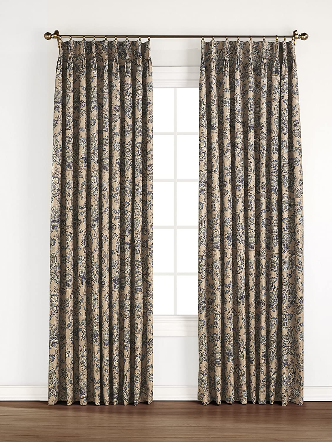 Stylemaster Home Products Renaissance Home Fashion Monique Pinch Pleated Foam Back Drape Pair, 48 by 84-Inch, Taupe