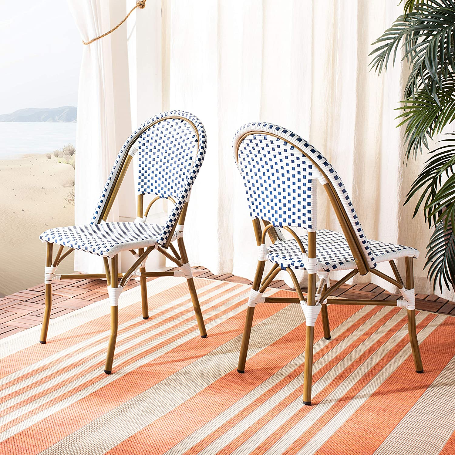 1af1b69ba1 Amazon.com: Safavieh Home Collection Salcha Blue and White Indoor/Outdoor  Stacking Side Chair (Set of 2): Kitchen & Dining