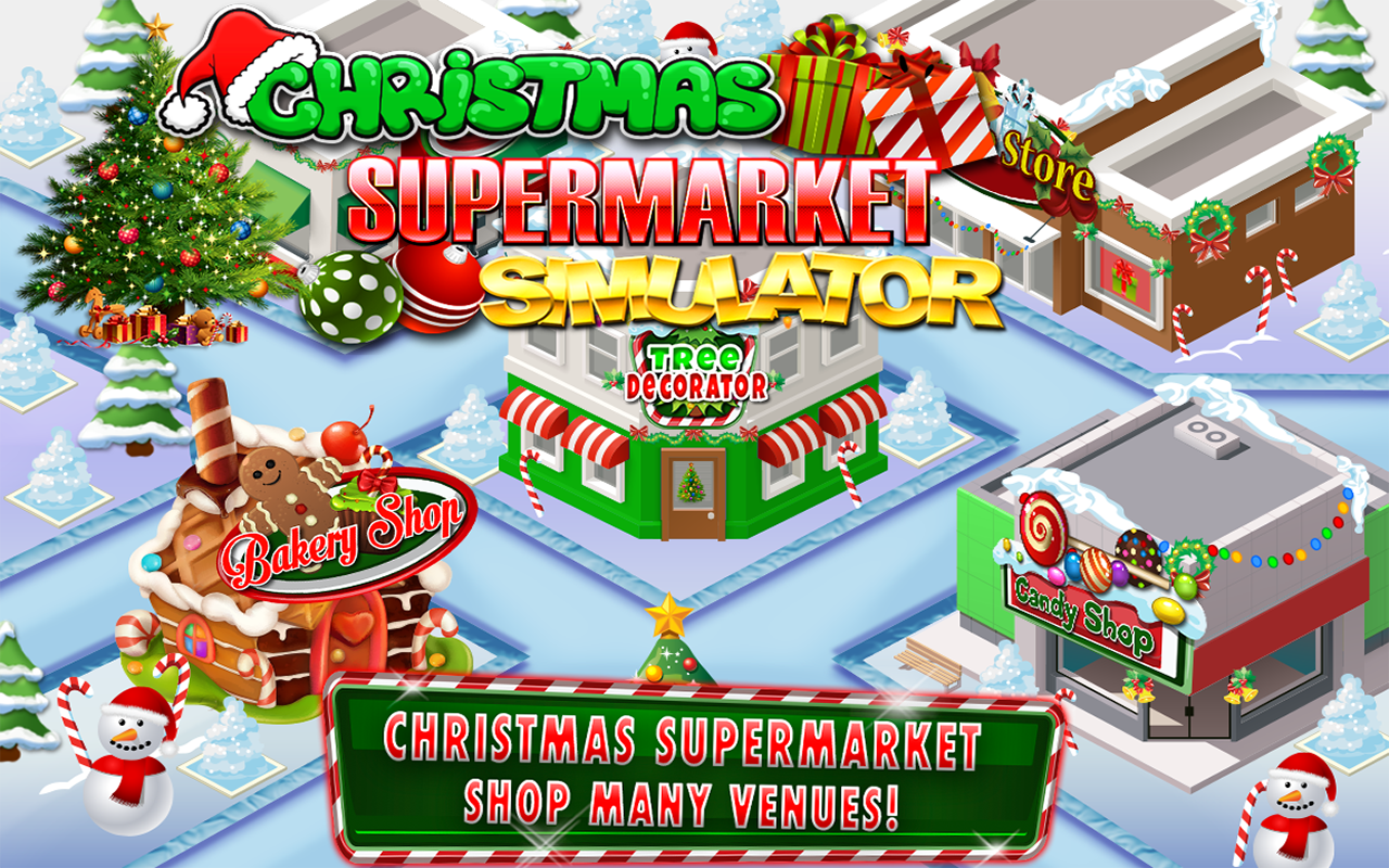 Christmas Shopping Simulator.Supermarket Christmas Kids Grocery Store Cash Register Simulator Shopping Games Free