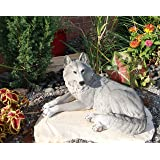 Resting Gray Lone Wolf Large Decorative Indoor & Outdoor Figurine