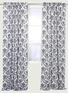 Awesome Bacati   Classic Damask White/black Curtain Panel