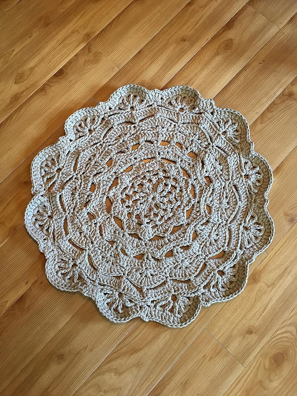 Amazoncom Kays Crochet Giant Doily Rug In Grey Cottage Chic Rug