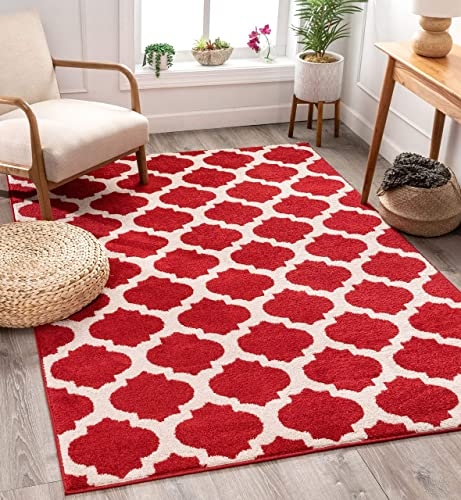 Tinsley Trellis Berry Red Ivory Moroccan Lattice Modern Geometric Pattern 7 10 x 9 10 Area Rug Soft Shed Free Easy to Clean Stain Resistant