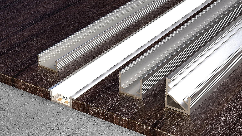 2 St/ück CEZAR Alu eloxiert f/ür LED Streifen inklusive passender Abdeckung in Ausf/ührung Silber Profil mit Fl/ügel mit Geh/äuse: Milch  1 meter