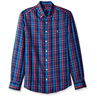 GANT Mens 3000830 Classic Color Cashmere Check Shirt Long Sleeve Button Down Shirt - Blue