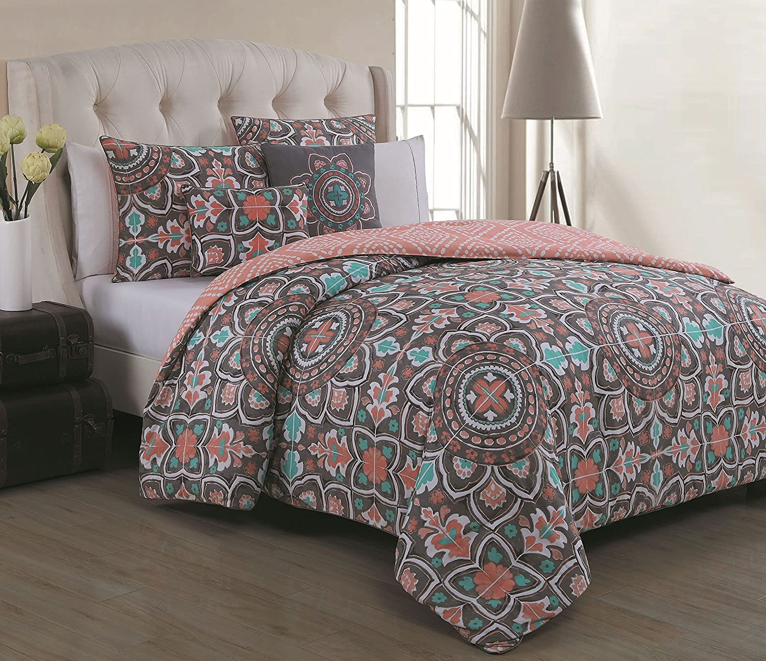 Amazon Avondale Manor 5 Piece Ibiza forter Set Coral Grey