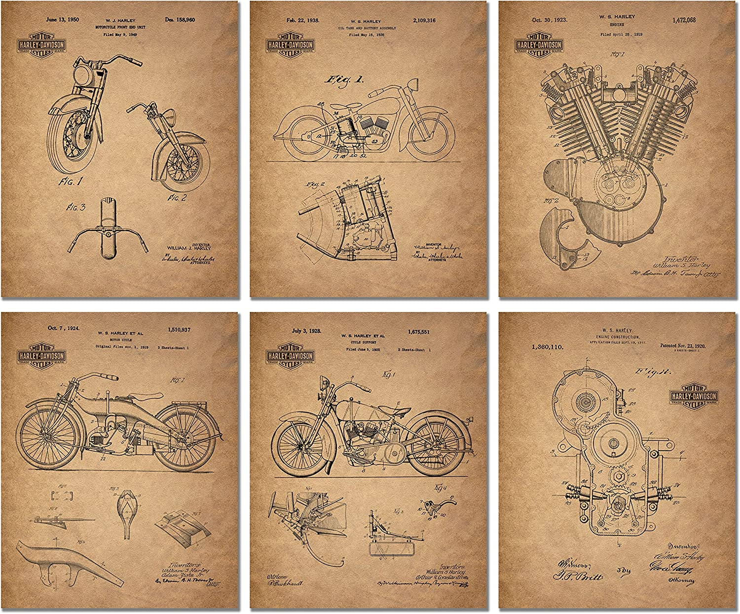 Harley Davidson Patent Prints (8 inches x 10 inches - Set of 6 Prints)