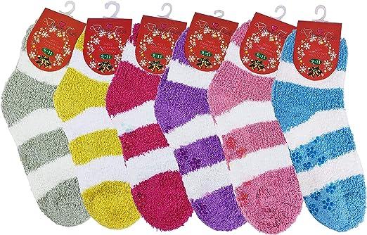 3 Pairs Women Winter Soft Cozy Fuzzy Warm Crew Socks Non-Skid Home Slipper 9-11