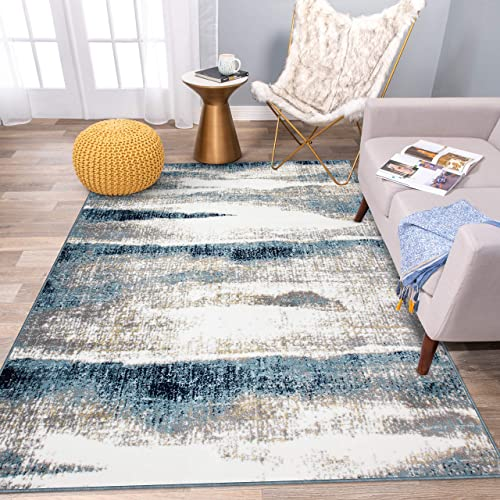 Rugshop Modern Abstract Waves Area Rug 7'10″ x 10' Blue