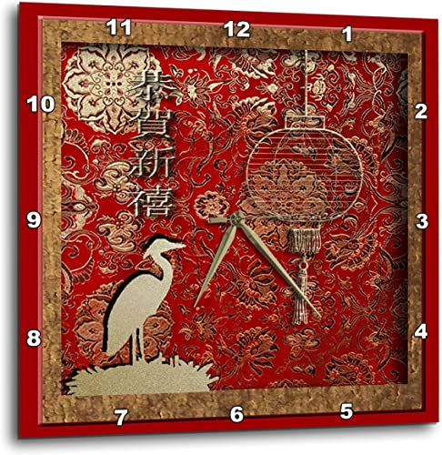 3dRose 3D Rose Crane and Lantern, Happy New Year in Chinese-Wall Clock, 15-inch DPP_12979_3