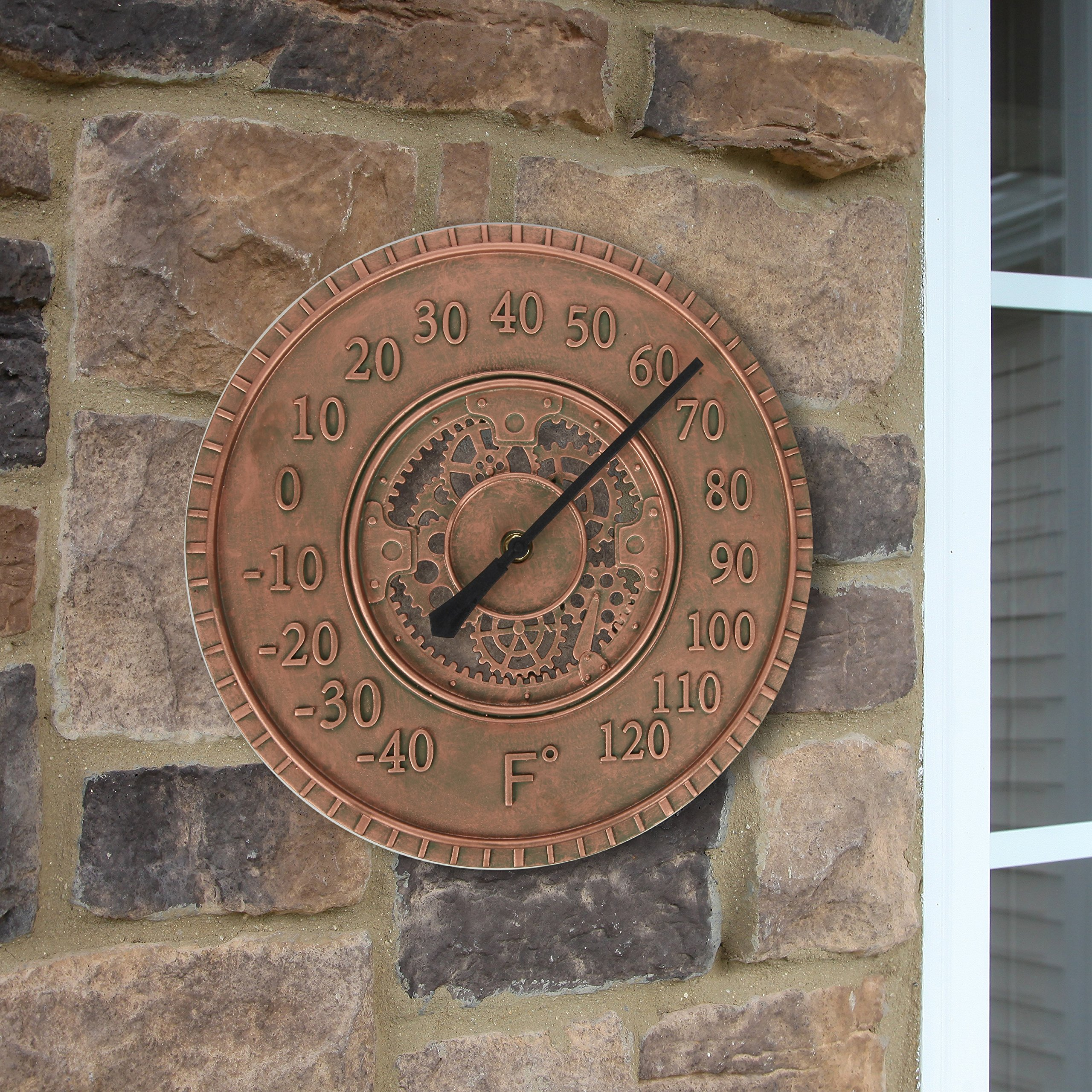 Lily's Home Hanging Wall Thermometer, Steampunk Gear and Cog Design with a Bronze Finish, Ideal for Indoor or Outdoor Use, Poly-Resin (13 Inches Diameter) by Lilyshome (Image #2)