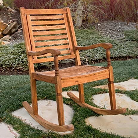 WE Furniture Solid Acacia Wood Rocking Patio Chair  Brown