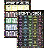 Sight Words and Word Families Posters - Laminated 14x19.5 - Educational Charts, Classroom Posters and Decorations, Back to Sc