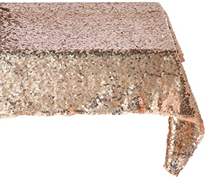 Great TRLYC 14X108 Inch Real Rose Gold Sequins Square Tablecloths And Table  Runner With Wedding,