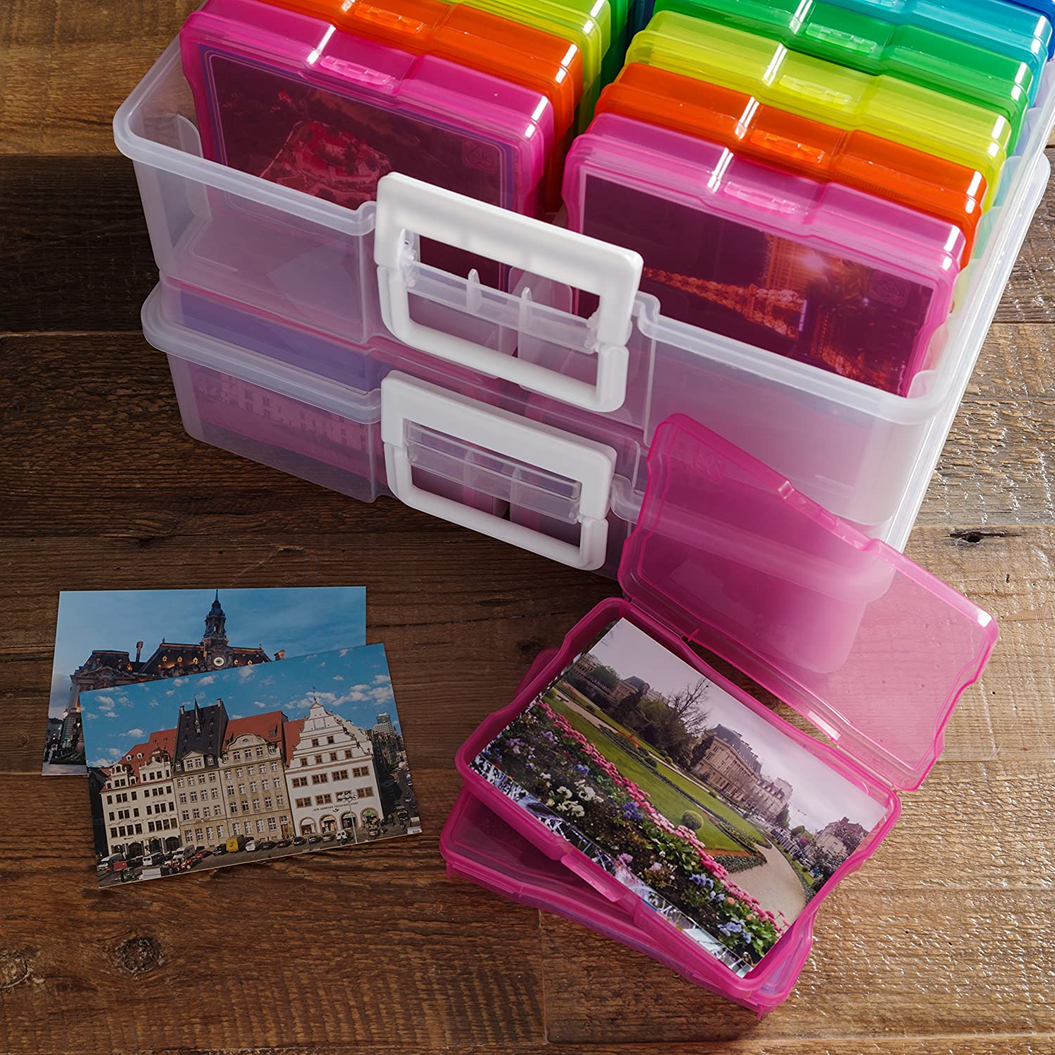IRIS USA 4 x 6 Photo Keeper and Craft Storage Multi Color 4 Pack