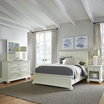 Home Styles Dover White Queen Bed with Night Stand, Dresser and Mirror with  Head and Footboard, Drawers, and Open Storage Area