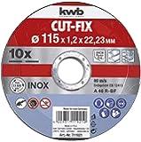 KWB 49711921 Juego de 10 discos cut fix, metal, 115 x 1,2 mm 115 x 1 mm