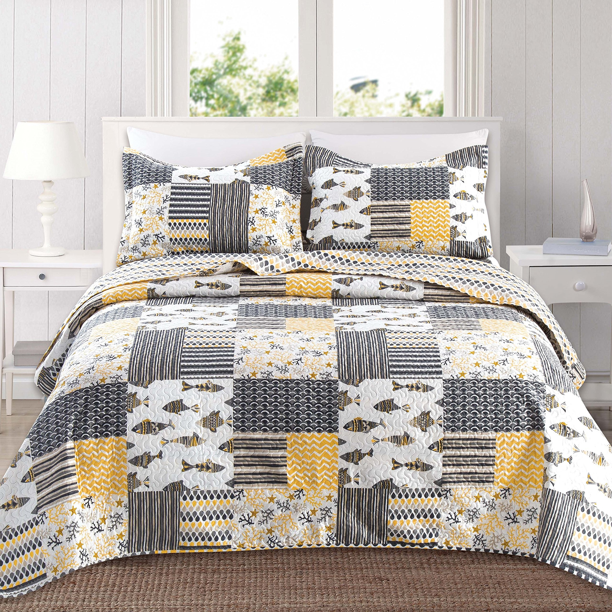 Home Fashion Designs 3-Piece Reversible Quilt Set with Shams. All-Season Bedspread with Patchwork Pattern. Barbados Collection By Brand. (Full/Queen, Grey/Yellow)
