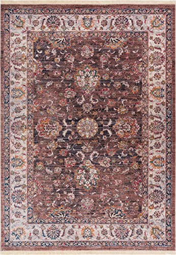 "Pilar Brown Modern Vintage Floral Traditional Area Rug 5 x 8 5'3"" x 7'7"" Antique Weathered Oriental Multicolor Pattern"