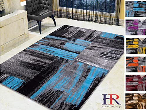 Handcraft Rugs – Blue Gray Silver Black Abstract Contemporary Modern Brush Design Mixed Colors Area Rug