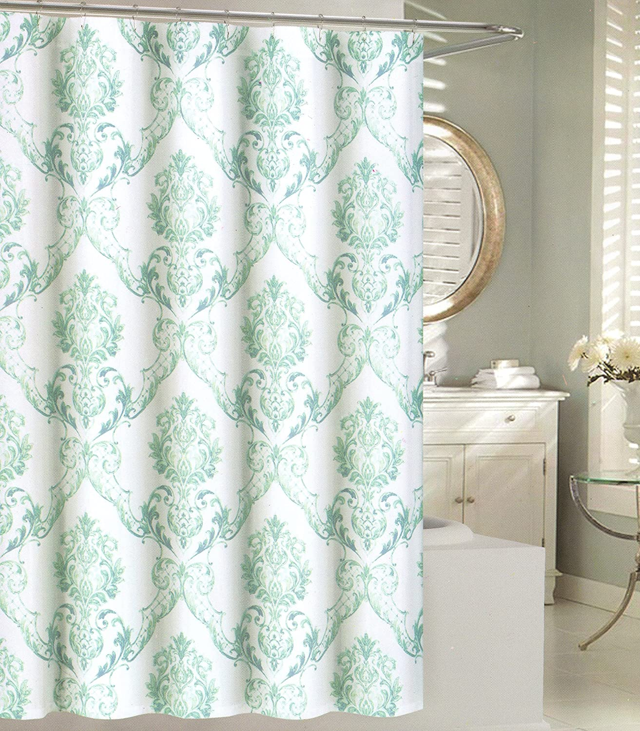 Amazon Tahari Home Fabric Shower Curtain Chinoisserie Damask Paisley Scroll Medallion Turquoise Aqua SPA Blue On White 72 X Kitchen