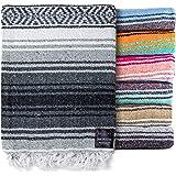 Authentic Mexican Blanket - Yoga Blanket, Handwoven Serape Blanket, Perfect as Beach Blanket, Picnic Blanket, Outdoor Blanket