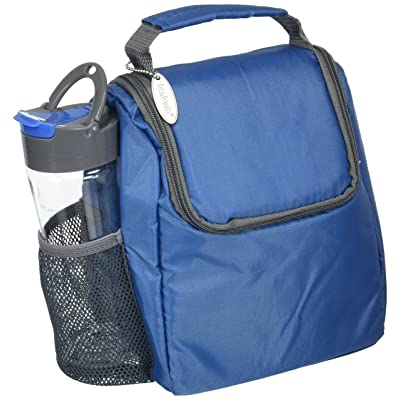 Fit & Fresh Insulated Lunch Bag with Matching 16 oz. Tritan Plastic Water Bottle, Lunch Box Set for Kids and Adults, Navy/Gray: Kitchen & Dining