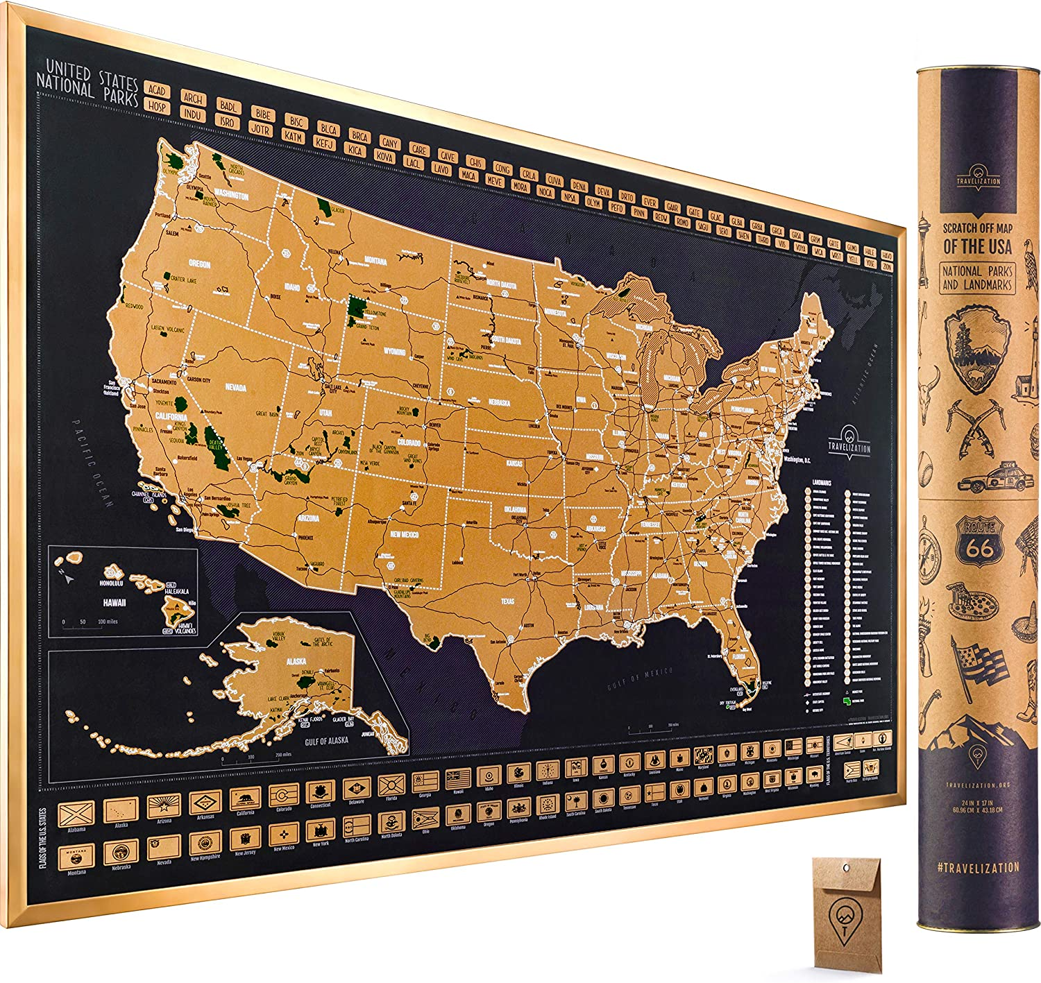 Scratch Off Map of The United States National Parks - 24x17 Scratch Off USA Map Poster with National Parks, Landmarks, Highest Peaks, and State Flags - USA Scratch Off Map for Outdoor Enthusiasts